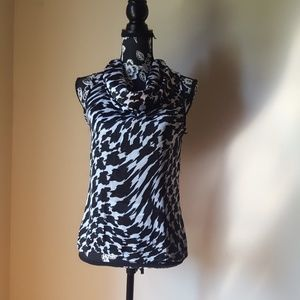 Investments Black and White Animal Print Top